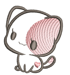 Kawaii Kitten Outline embroidery design