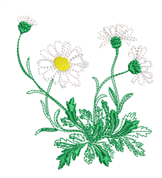 Run Stitch Daisies embroidery design