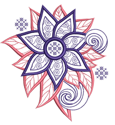 Mandala Style Flower embroidery design