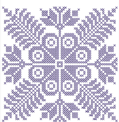Floral Cross Stitch Square embroidery design