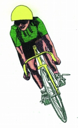 Lady Bicyclist embroidery design