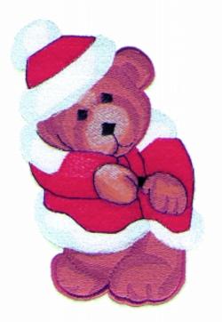 Santa Bear Applique embroidery design