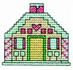 Cross Stitch House embroidery design