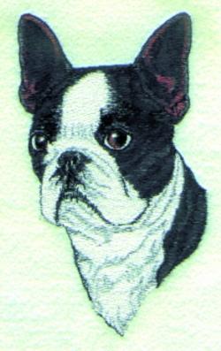 Boston Terrier embroidery design