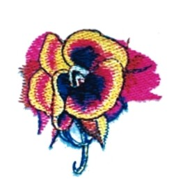 Pansy Button embroidery design