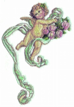 Ribbon Cherub embroidery design