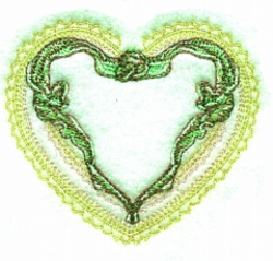 Ribbon Lace Heart embroidery design
