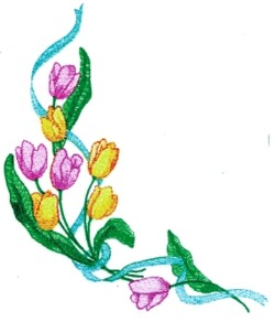 Ribboned Tulips embroidery design