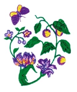 Botanical embroidery design