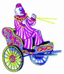 Cart and Clown embroidery design
