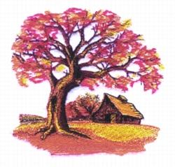 Fall Farm Scene embroidery design