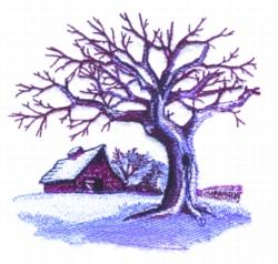 Winter Farm Scene embroidery design