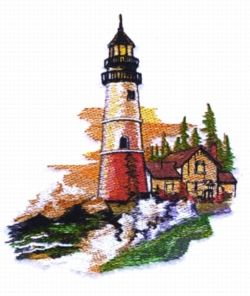 Fall Light House embroidery design