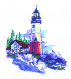 Spring Light House embroidery design