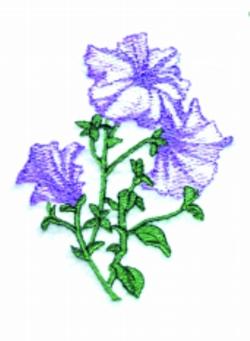 Petunias embroidery design