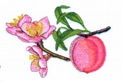 Peach & Blossoms embroidery design