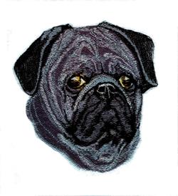 Black Pug embroidery design