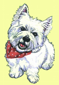 Westie embroidery design