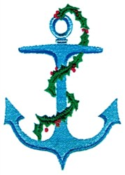Anchor with Holly embroidery design