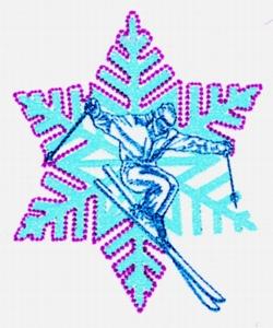 Citylight Skier embroidery design