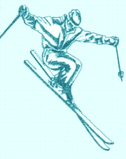 Large Skier embroidery design