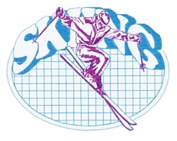 Skiing Oval embroidery design