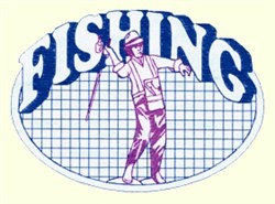 Fishing Oval embroidery design