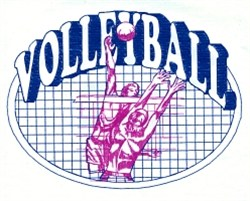 Volleyball Oval embroidery design