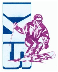 Snow Skier embroidery design