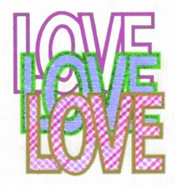 Love, Love, Love embroidery design