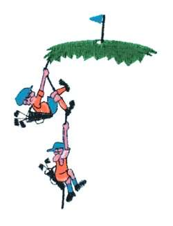 Climbing Golfers embroidery design