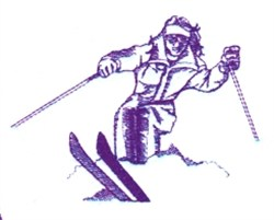 Lady Skier embroidery design