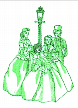 Carolers embroidery design