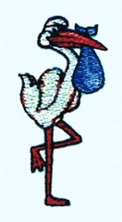 Stork embroidery design