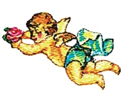 Flying Rose Cherub embroidery design