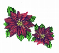 Two Poinsettias embroidery design