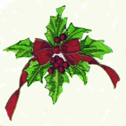Holly Ribbon embroidery design