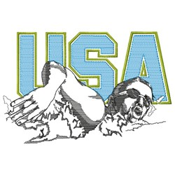 USA Swimmer embroidery design