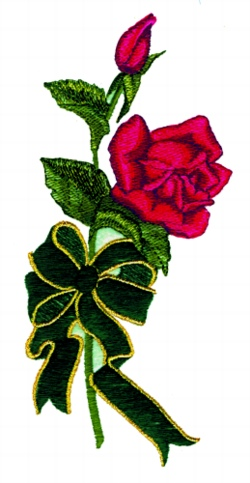 Rose  &  Bow embroidery design