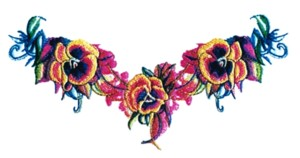 Pansy Runner embroidery design