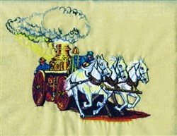 Fire Engine Horses embroidery design