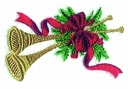 Christmas Horn embroidery design
