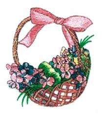 Pink Flower Basket embroidery design