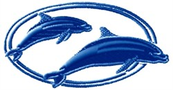 Dolphin Oval embroidery design