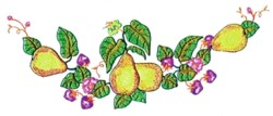 Pears & Strawberries embroidery design
