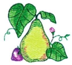 Pear & Strawberry embroidery design