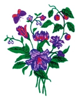 Botanical embroidery design