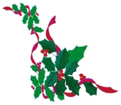 Ribboned Holly Corner embroidery design