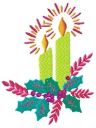 Candles With Holly embroidery design