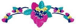 Strawberry Floral Border embroidery design